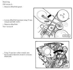 remove and replace ribbed belt V6 2.8L