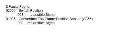 Fix G356 Top Frame Position Sensor Audi Cabriolet