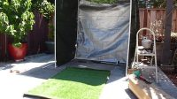 golf net with practice fake grass