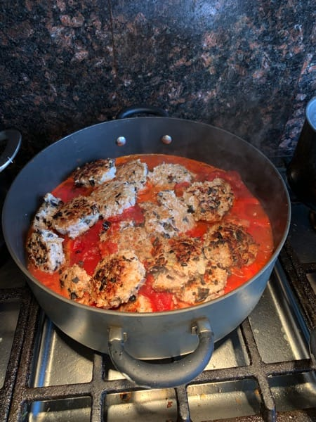 submerge all meatballs in pan