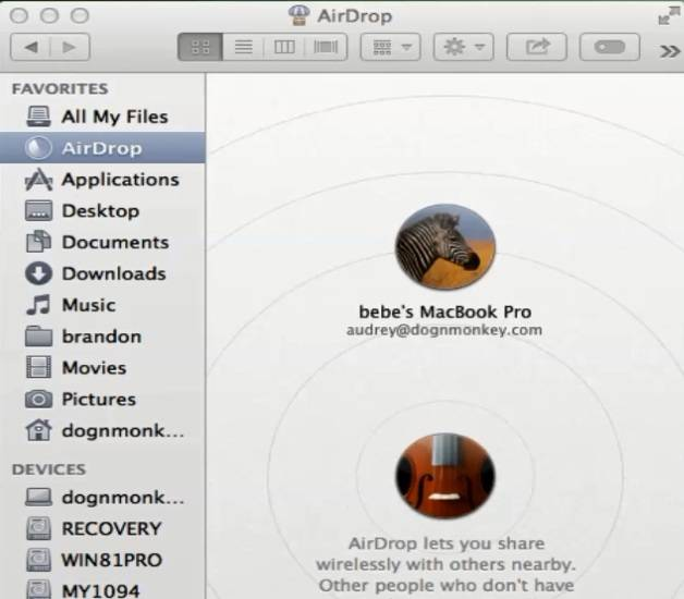 Transfer Files Using Airdrop With Mavericks 10.9.4