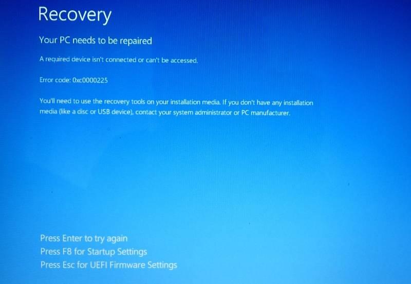 HP Error Code 0xc0000225 BSOD
