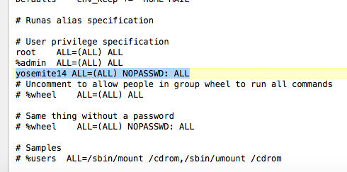 Set Password For Sudo Commands Permanently OS X