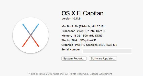 Update El Capitan 10.11.6 from 10.11.5 On HP x360 Haswell HD4400 Laptop