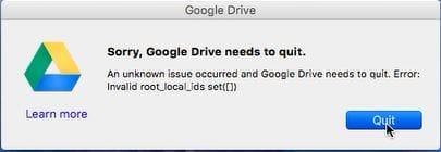 Fix Google Drive Error:fa45 and Invalid Root_Local_IDS Set On El Capitan 10.11.5