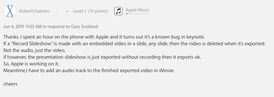 Keynote 9.0.2 bug deletes embedded videos in slides