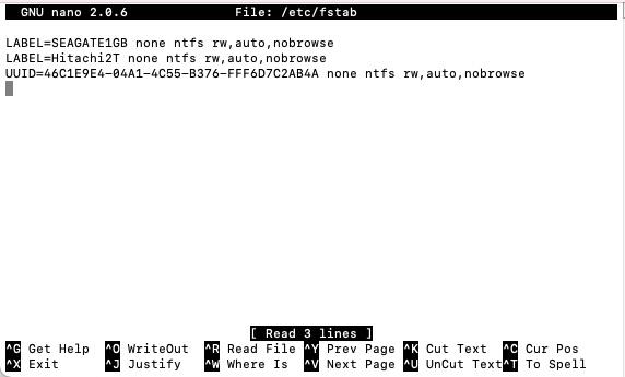 fstab file