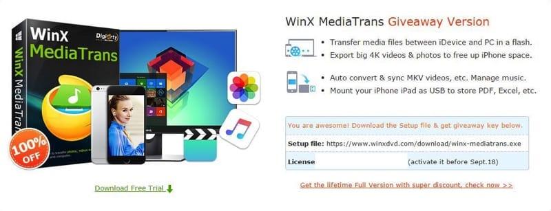 WinX MediaTrans iOS Media Transfer Software for Windows